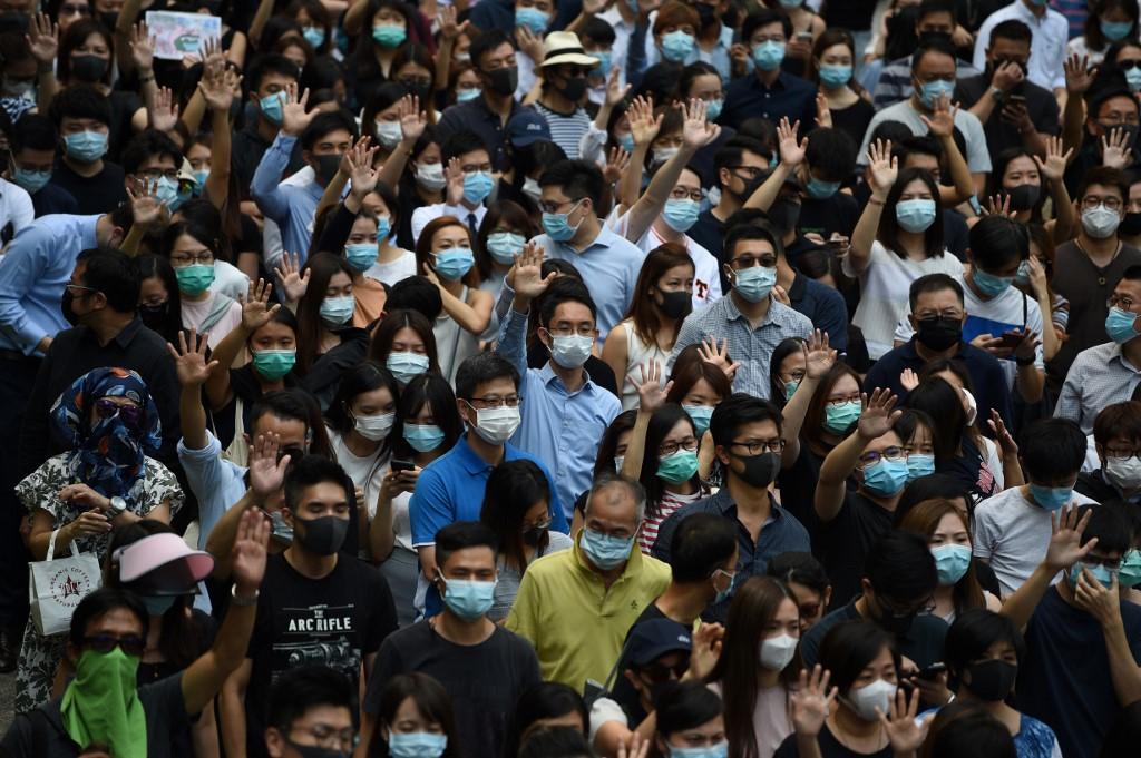 October 4 face mask ban protest central