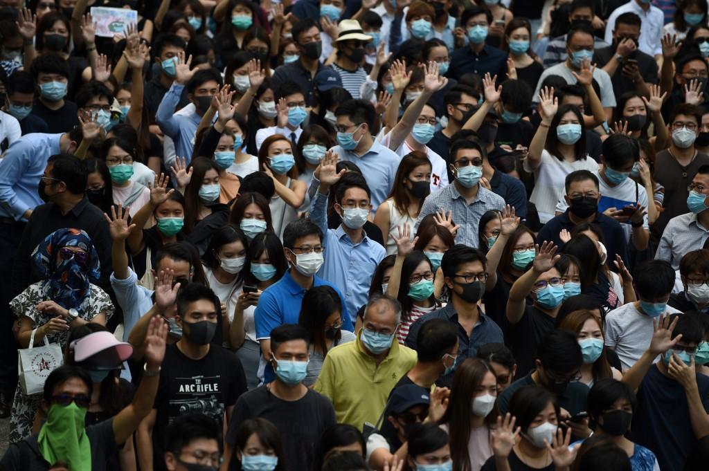 October 4 face mask ban protest central