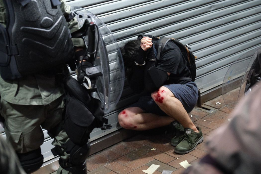 October 1 National Day Wan Chai protest handcuffed arrest police