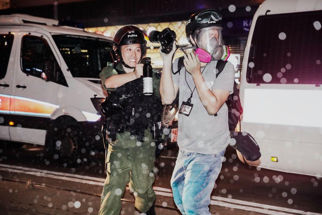 riot police pepper spray Lam Chun-tung Initium Media Causeway Bay Sep 29