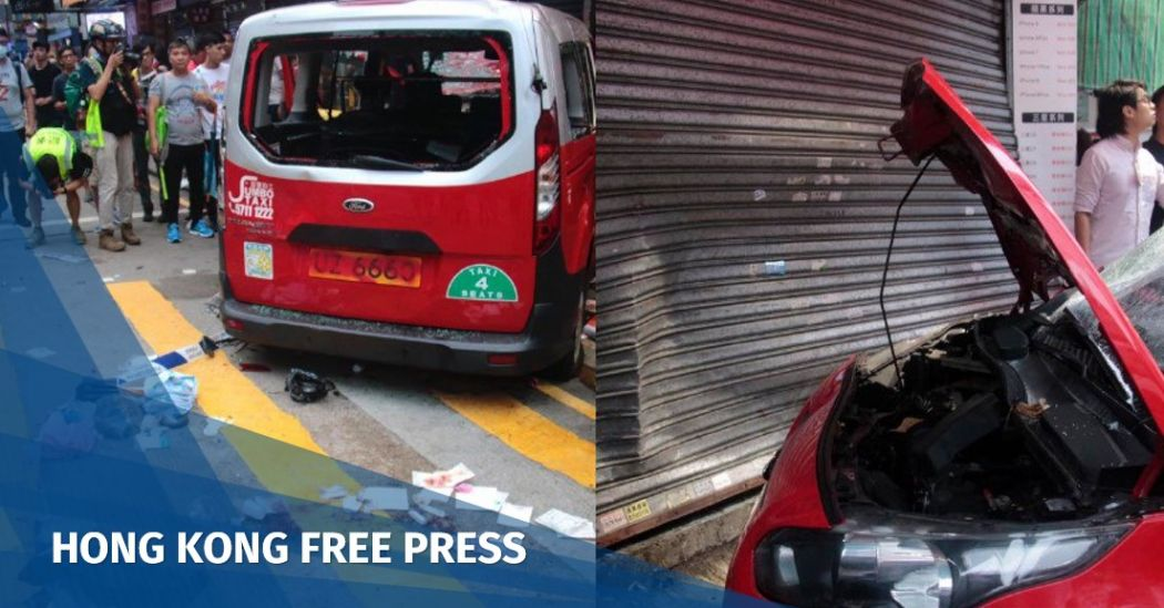 Video: Taxi rams into pro-democracy protesters outside local Hong Kong gov't offices, driver beaten