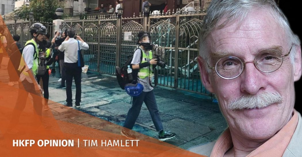 kowloon mosque blue dye water cannon apology tim hamlett