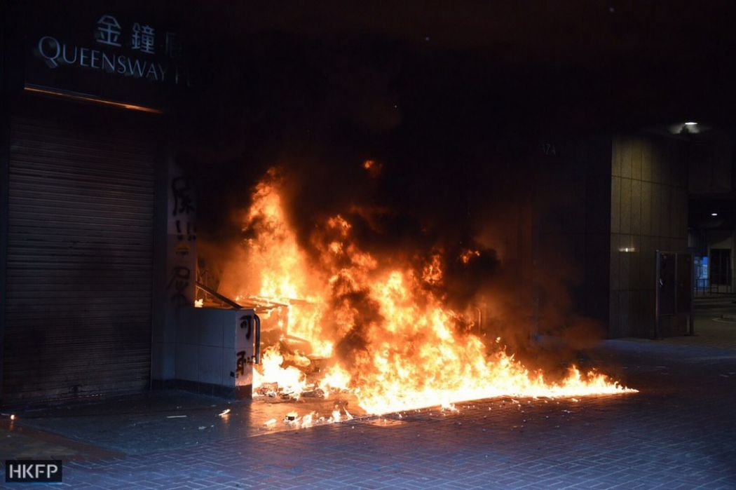 October 1 National Day protests Hong Kong Island MTR station fire