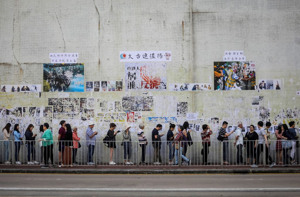 "Hong Kong ""November 24"" District Council Election 2019 Kennon Wall Tai Koo queue vote"