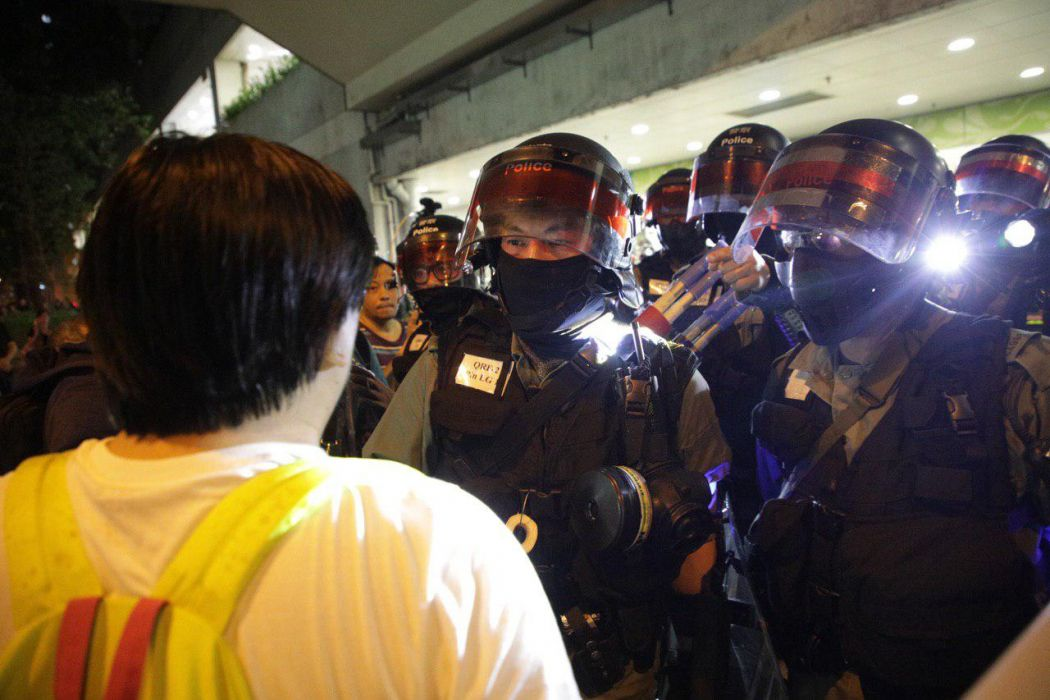 Riot police in Tai Po