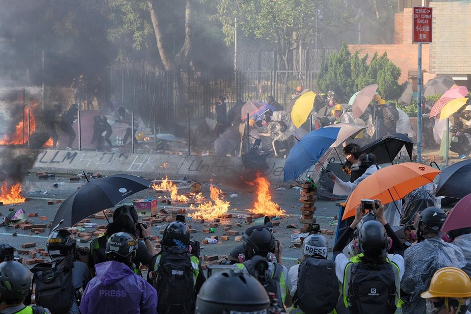 """""""November 17"""" Hong Kong Polytechnic University Hung Hom protester police water cannon fire"""