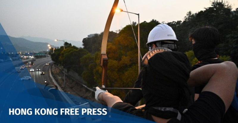 Hong Kong protester archery