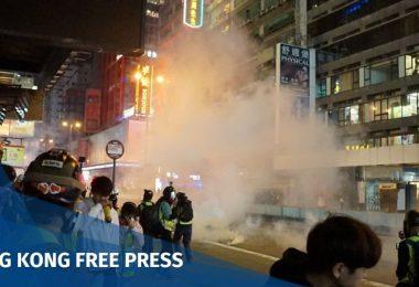 """Mong Kok tear gas """"December 12"""" Hong Kong police protester"""
