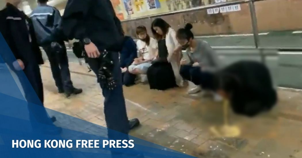 Tin Shui Wai pregnant woman arrested throw up