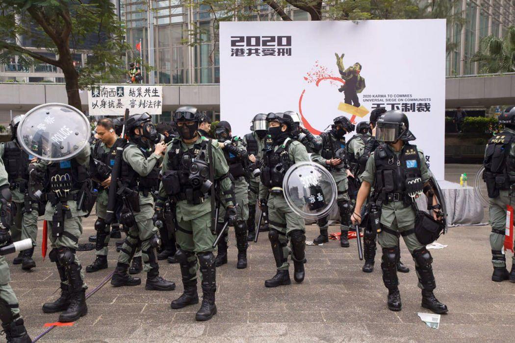 riot police central rally