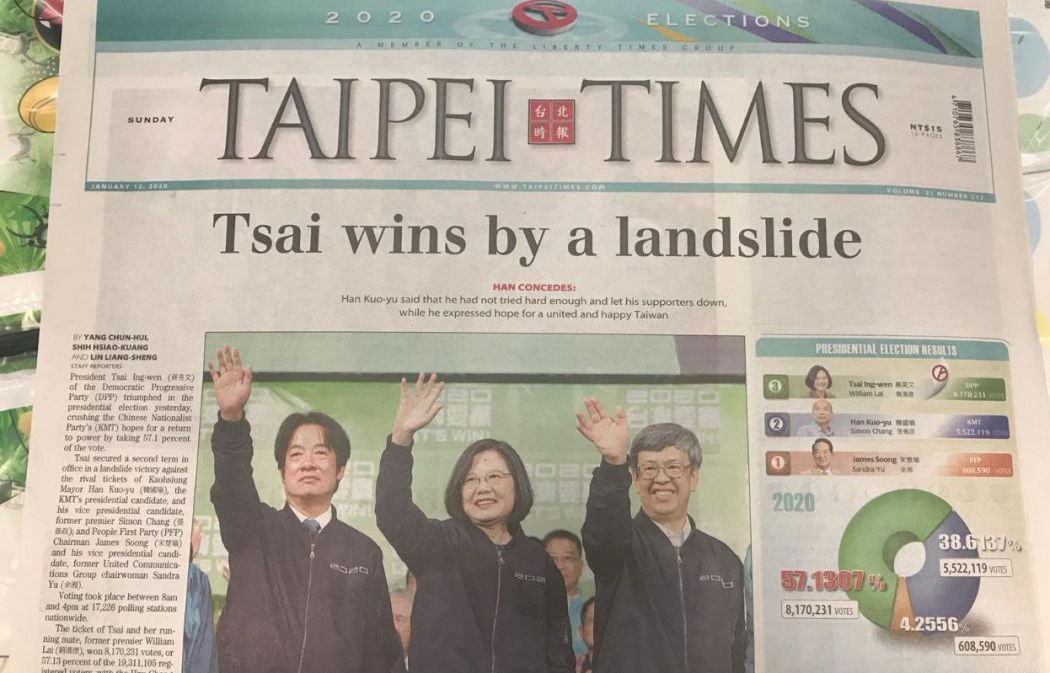 tsai ing-wen newspaper win