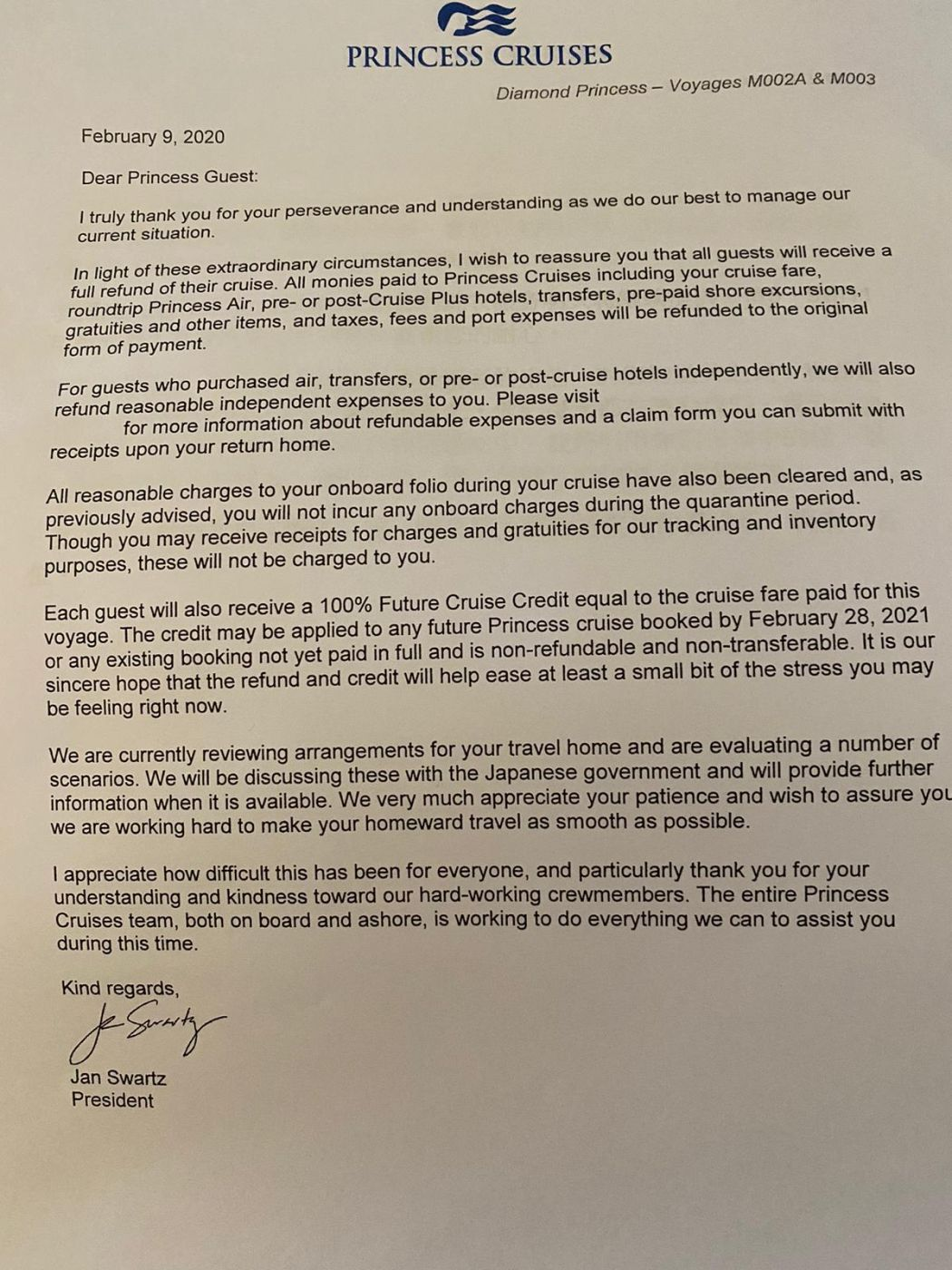 Princess Cruises letter to guests.