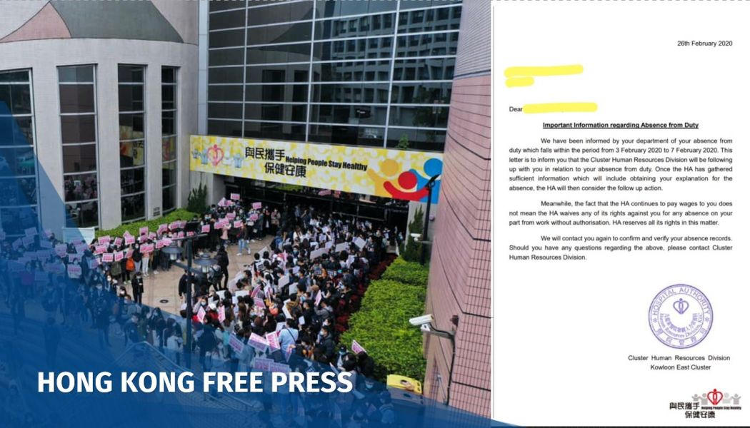 Coronavirus: Hong Kong's Hospital Authority targets medics who went on strike to urge border closure | Hong Kong Free Press HKFP