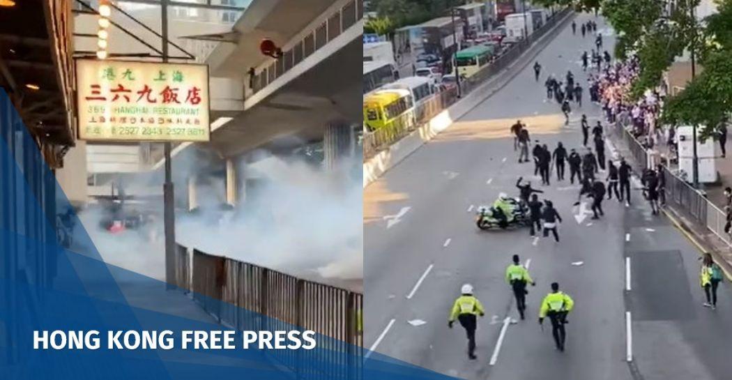 IPCC police throw bin, motorcyclist ram into the crowd