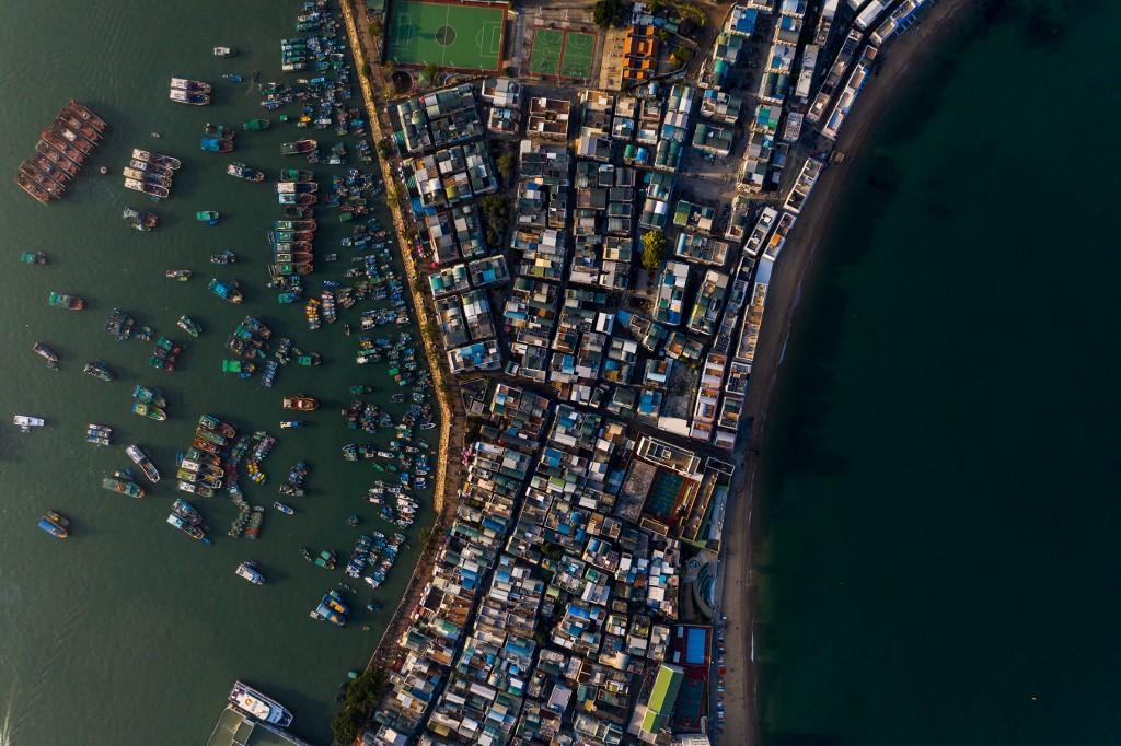 Hong Kong birds-eye view aerial above AFP Dale De La Rey