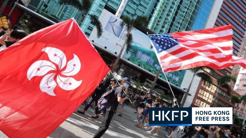 Hong Kong US flags