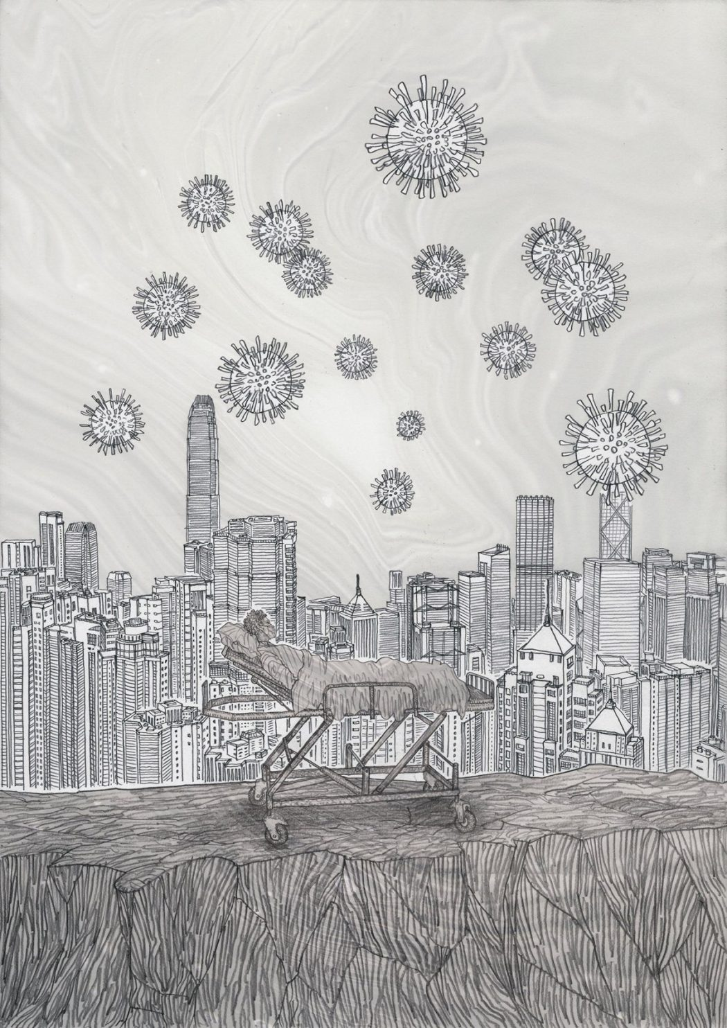 Lau Kwong Shing depicts virus in the sky of Hong Kong in early January (Copy)
