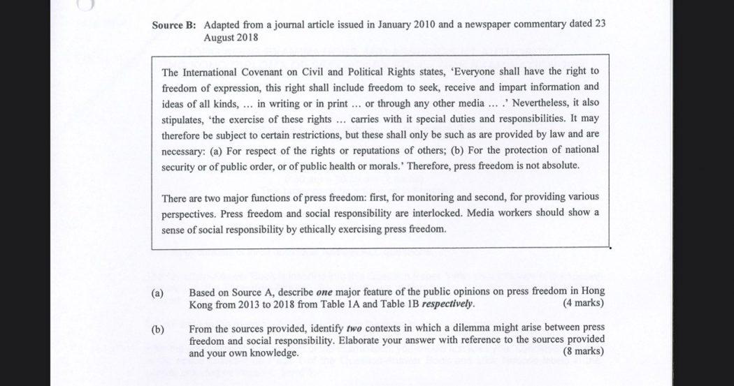 HKDSE Liberal Studies 2020 Paper 1 press freedom