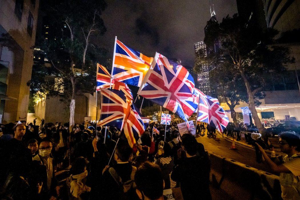 """British flags Hong Kong protest """"Nov 29 2019"""""""