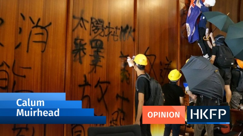 calum muirhead business stand with hong kong protester