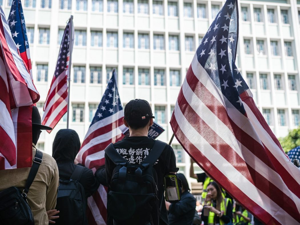 US flag protest