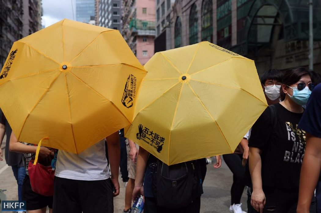 yellow umbrellas protest causeway bay 1 July 2020