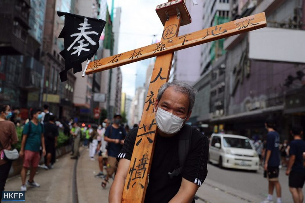 cross crucifix protest march five demands 1 July 2020 causeway bay