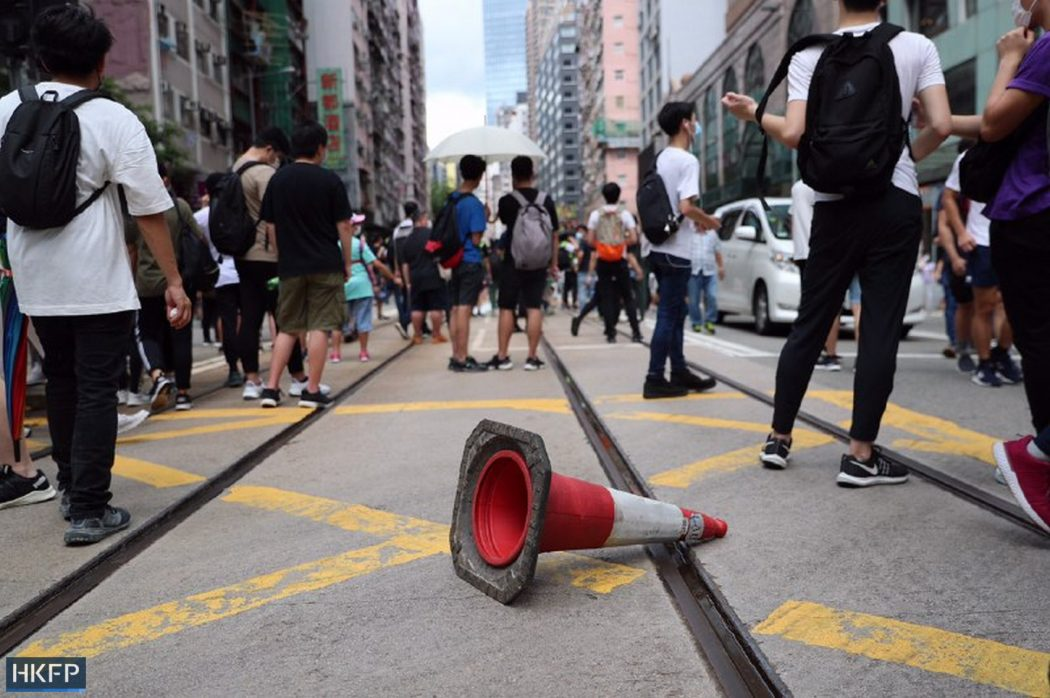 protest traffic cone causeway bay 1 July 2020