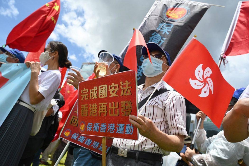 China pro-Beijing rally