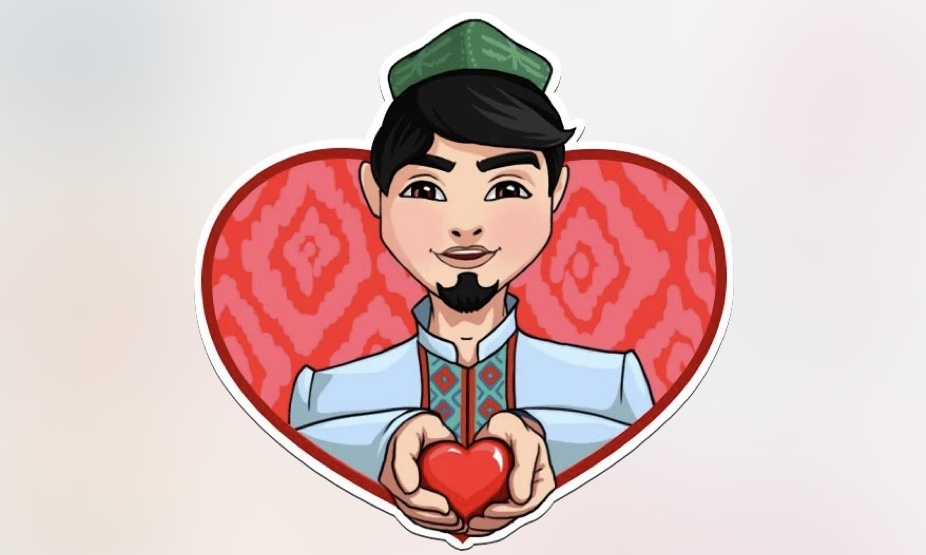 One of the emojis designed to represent an Uyghur man wearing traditional clothes