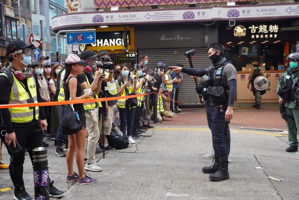 press media police cordon protest march five demands 1 July 2020 causeway bay