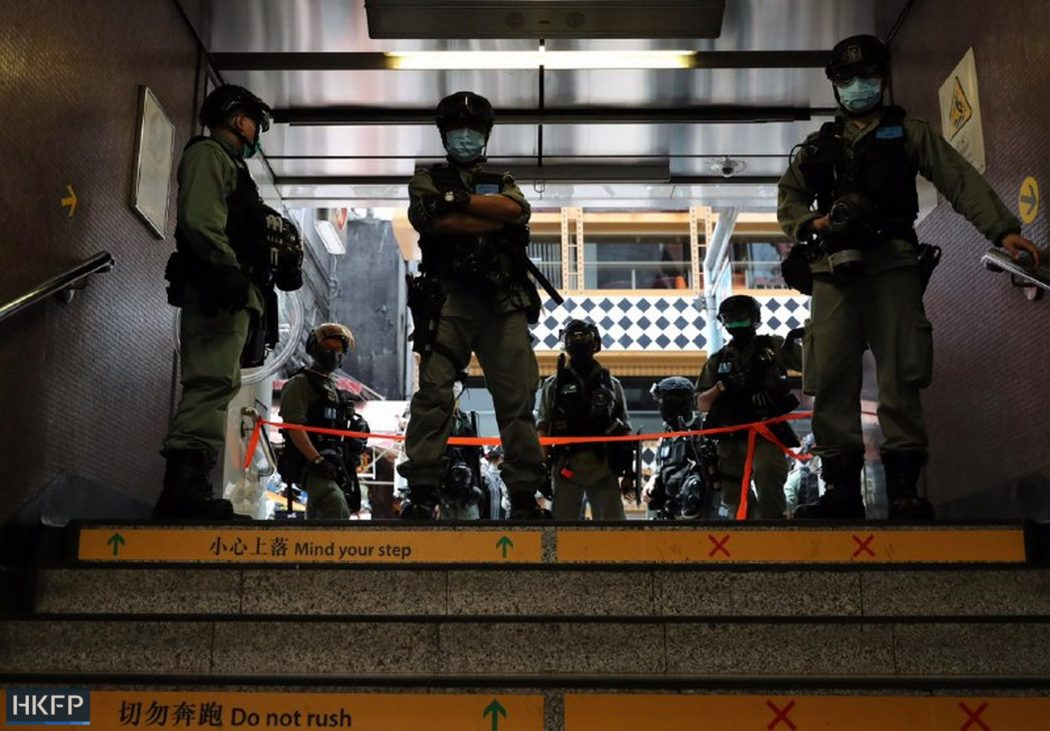 police block mtr exit causeway bay 1 July 2020