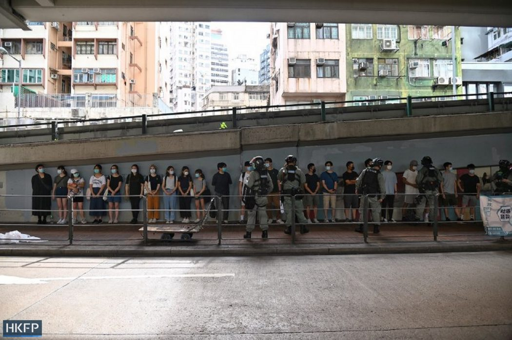 protester lineup police causeway bay 1 July 2020