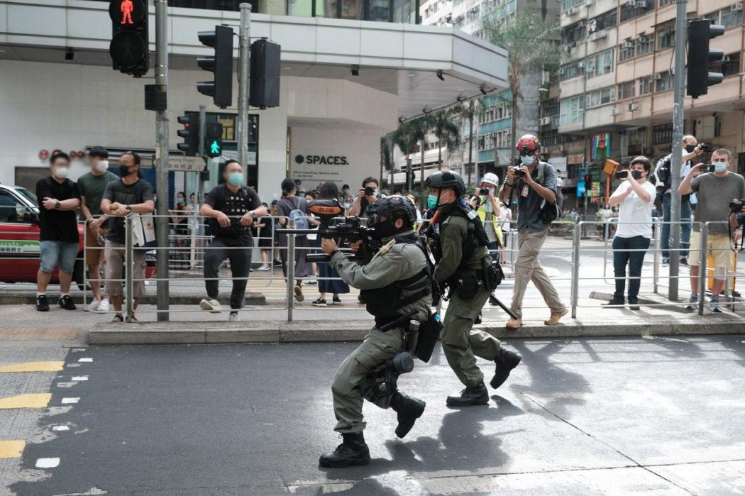 police gun protest causeway bay 1 July 2020