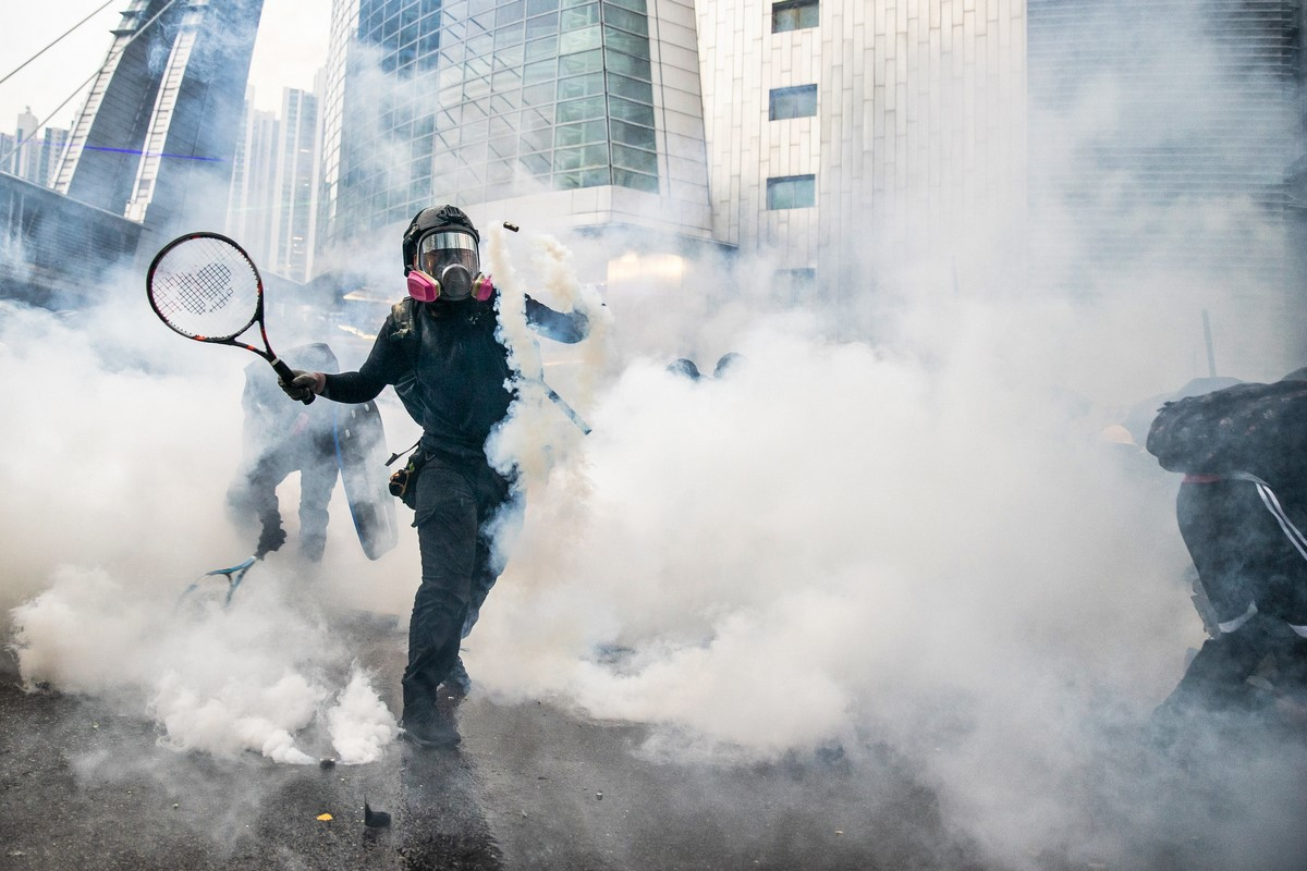 "protest tear gas tennis racket ""August 24, 2019"""