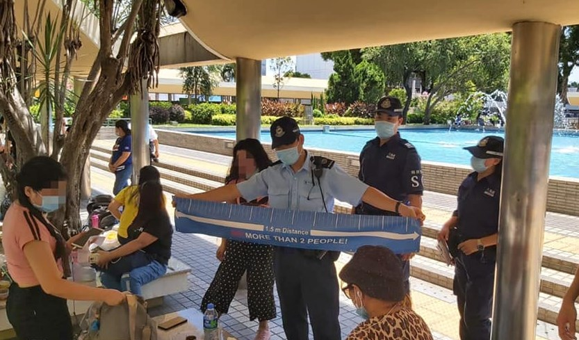 tape measure police social distancing domestic workers