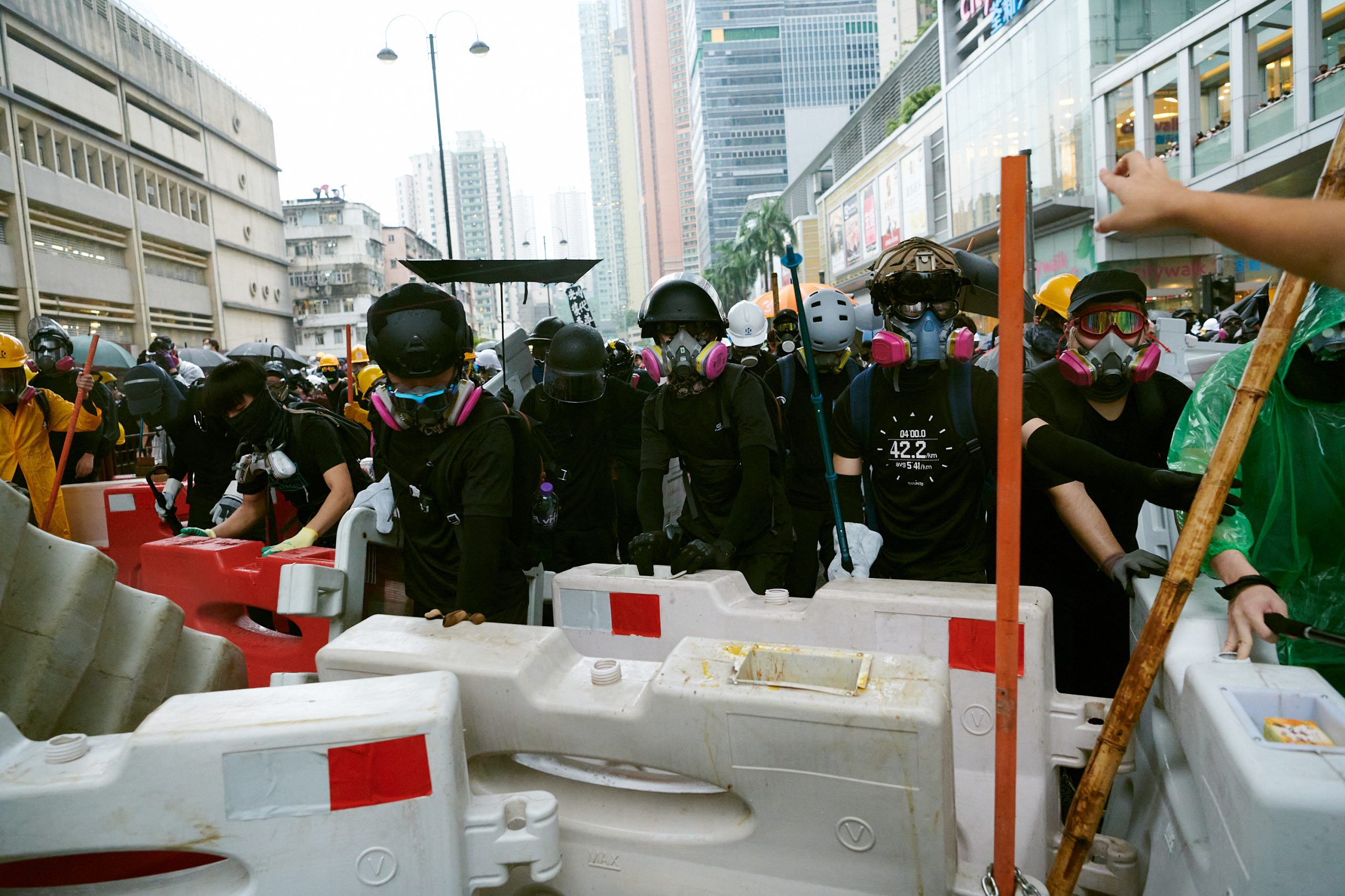 barricades gas masks anti-extradition protests 2019