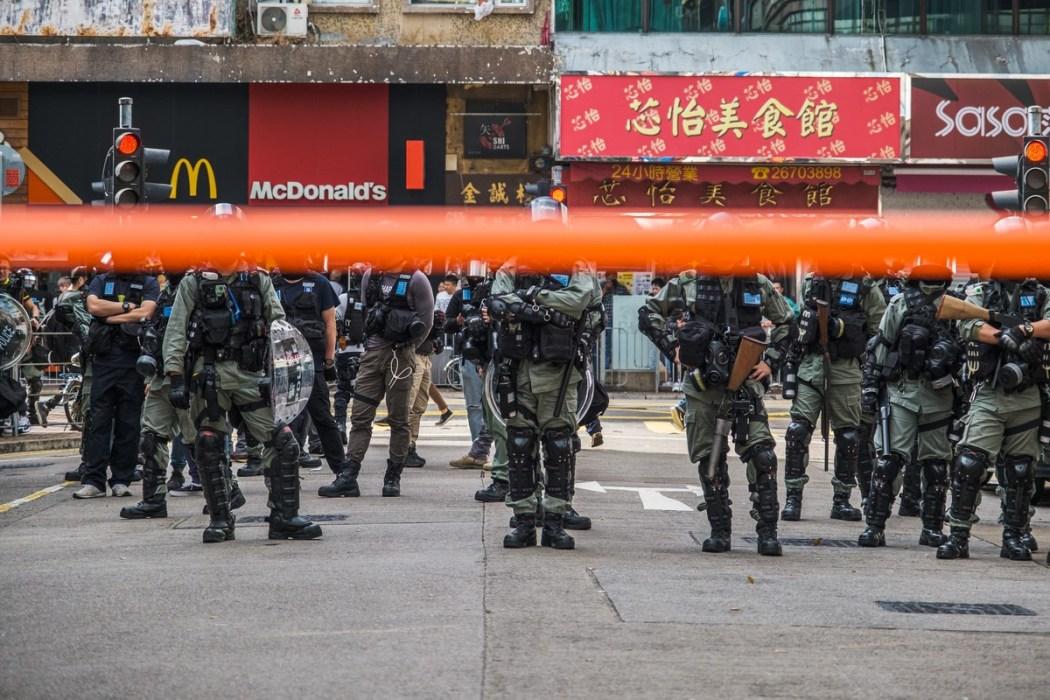riot police cordon