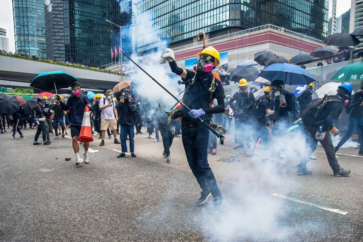 """August 31, 2019"" protest tear gas frontline"