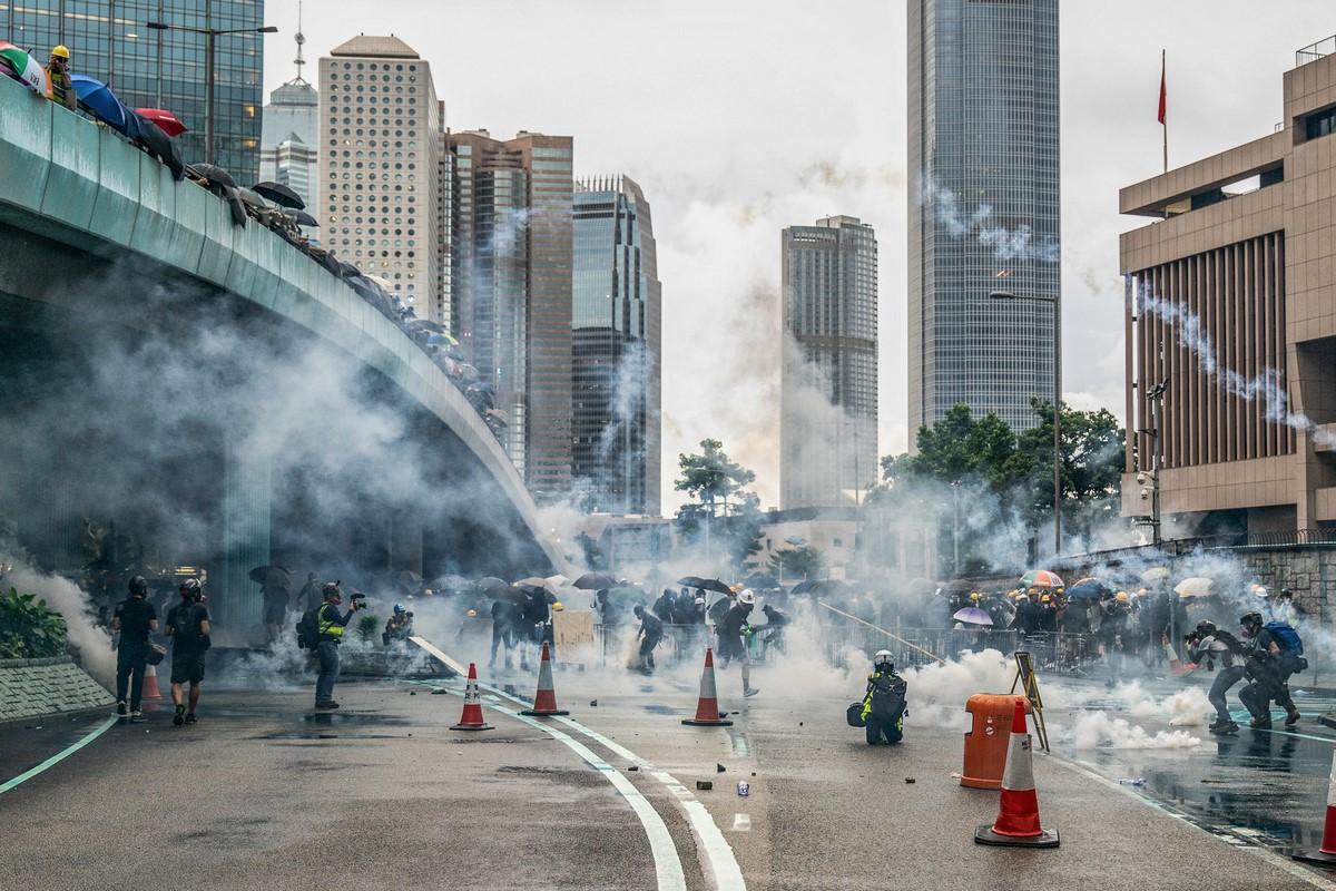 """August 31, 2019"" protest tear gas"