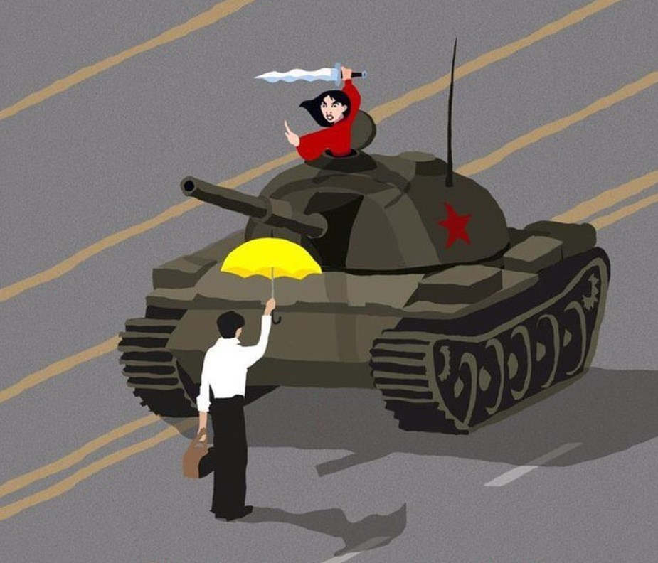 mulan tiananmen tank man yellow umbrella