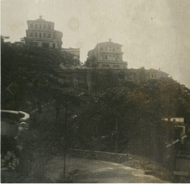 HKU Students' Hostels from the East – giving a general view of the exterior of the three hostels (May Hall, Elliot Hall and Lugard Hall)