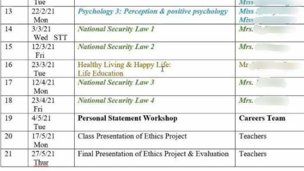 SPCS national security law timetable