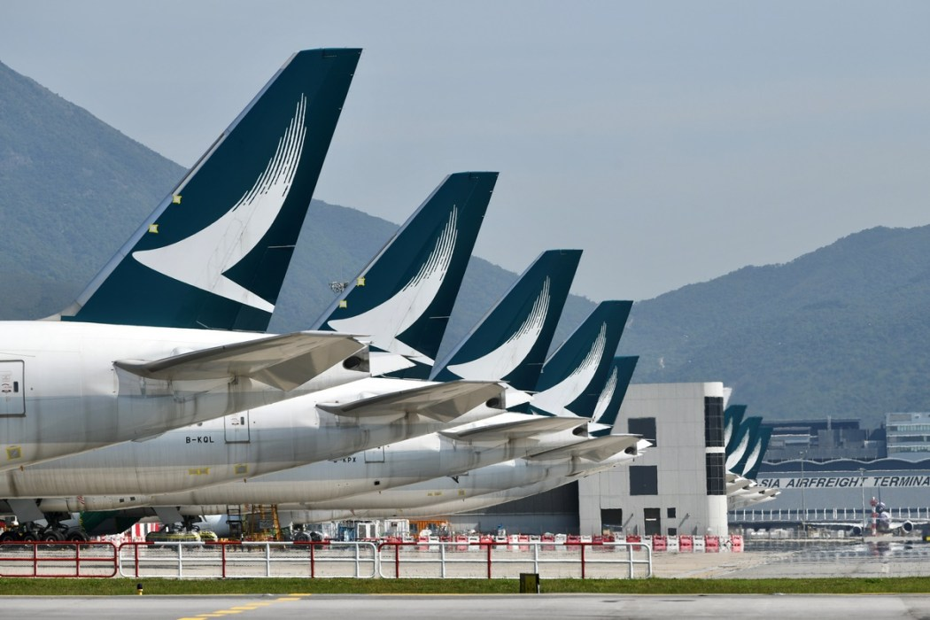 Cathay Pacific plane grounded travel airplane