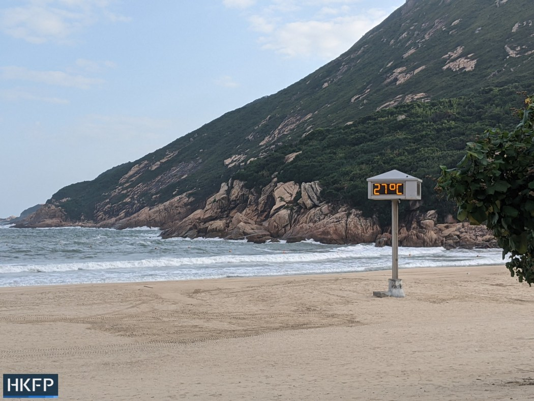 deserted Shek O beach closure under covid
