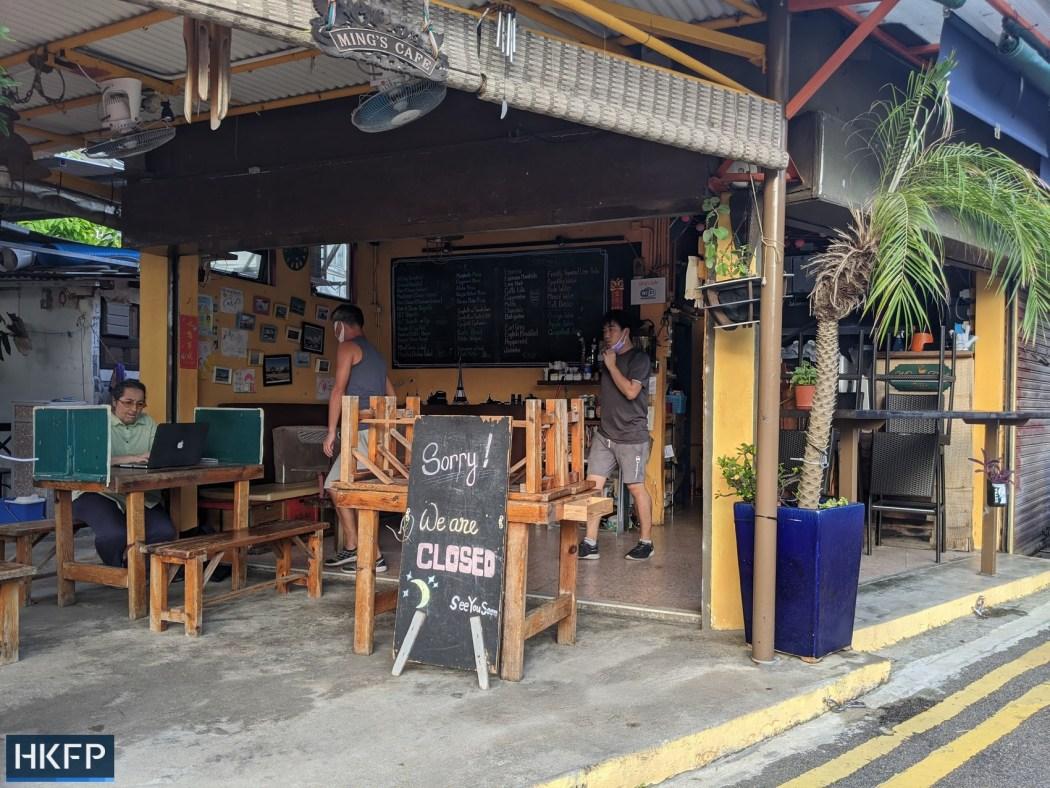 ming's cafe near shop near deserted Shek O beach closure under covid