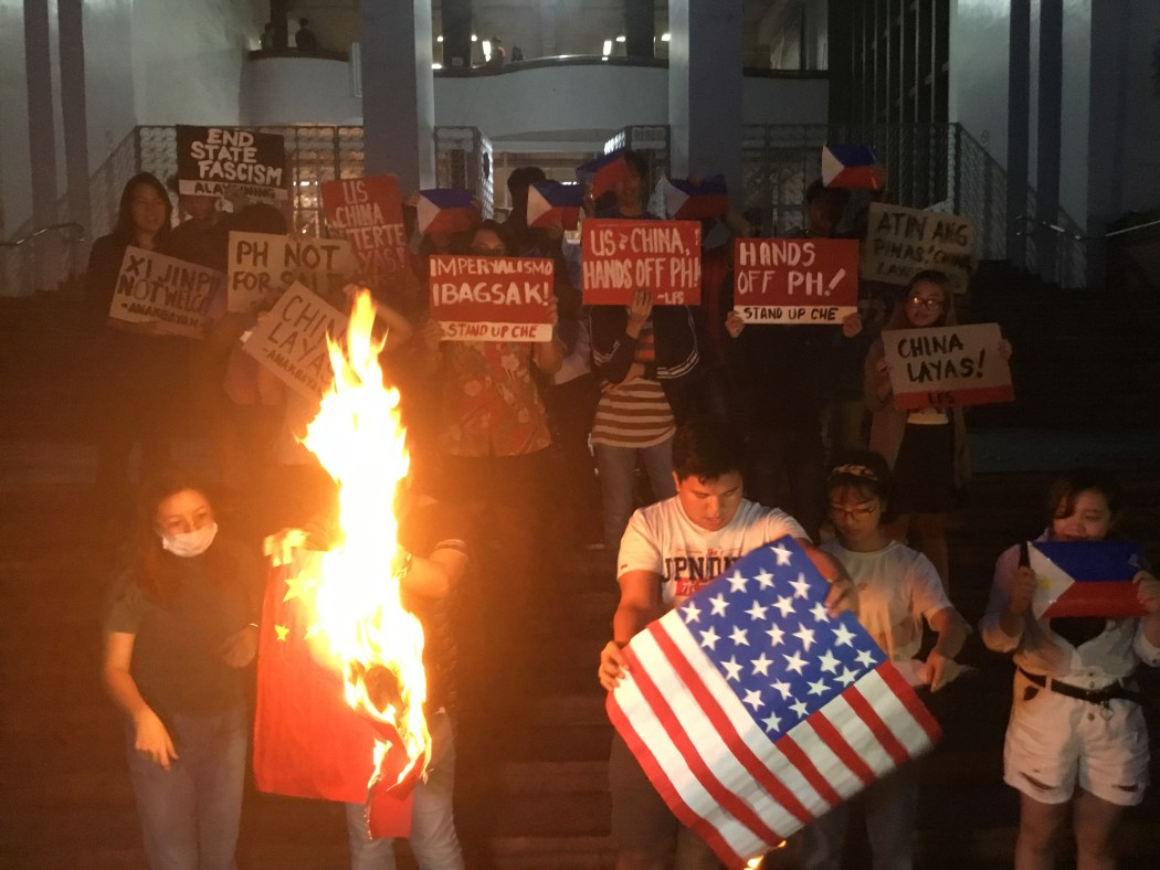 Protest_Mobilization_Against_State_Visit_of_Xi_Jinping_US-China_Flag_Burning_by_Students_from_University_of_the_Philippines_Diliman_and_Ateneo_de_Manila China flag burning