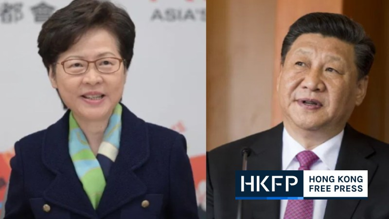 Carrie Lam and Xi Jinping
