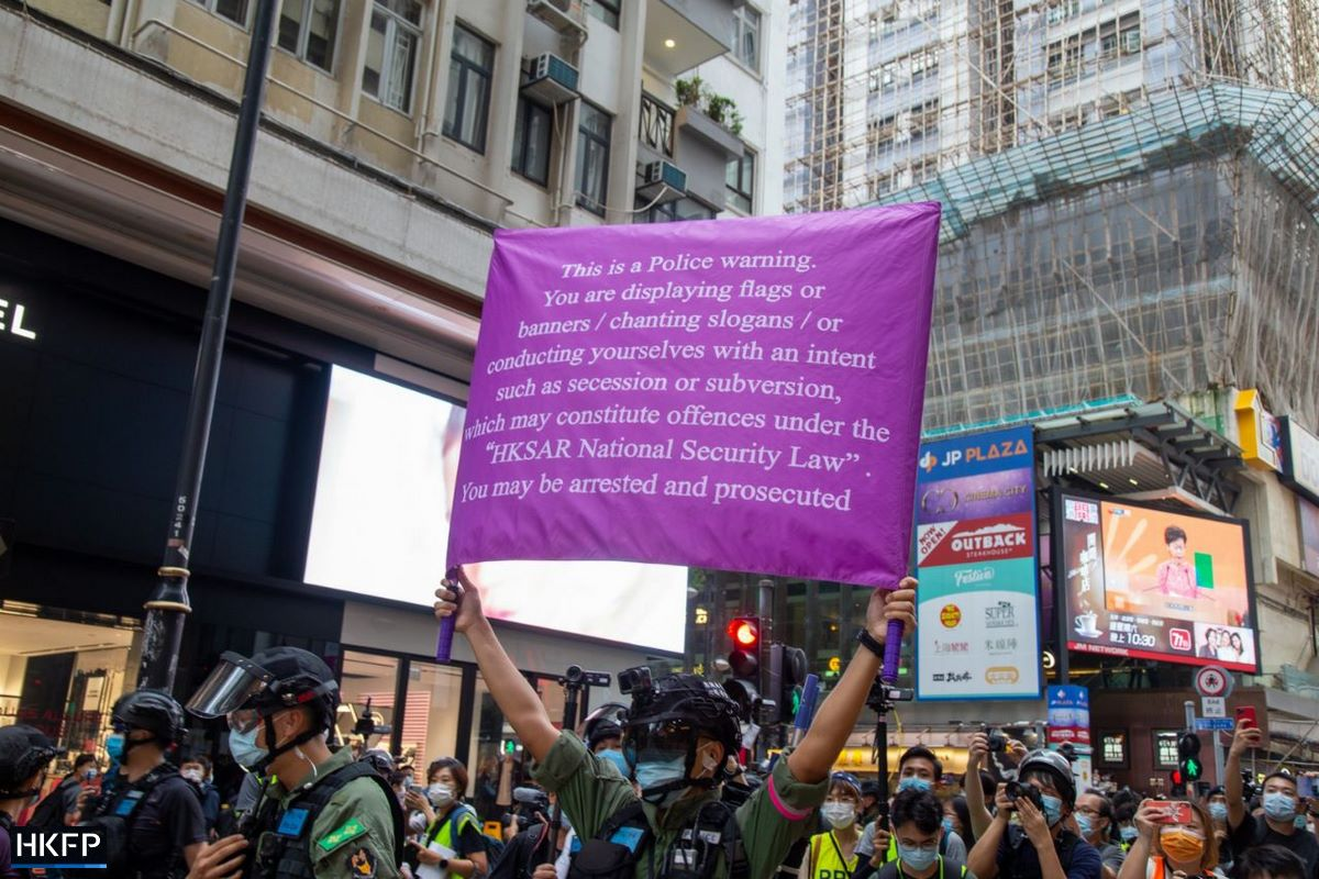 October 1 Police purple flag causeway bay national security banner