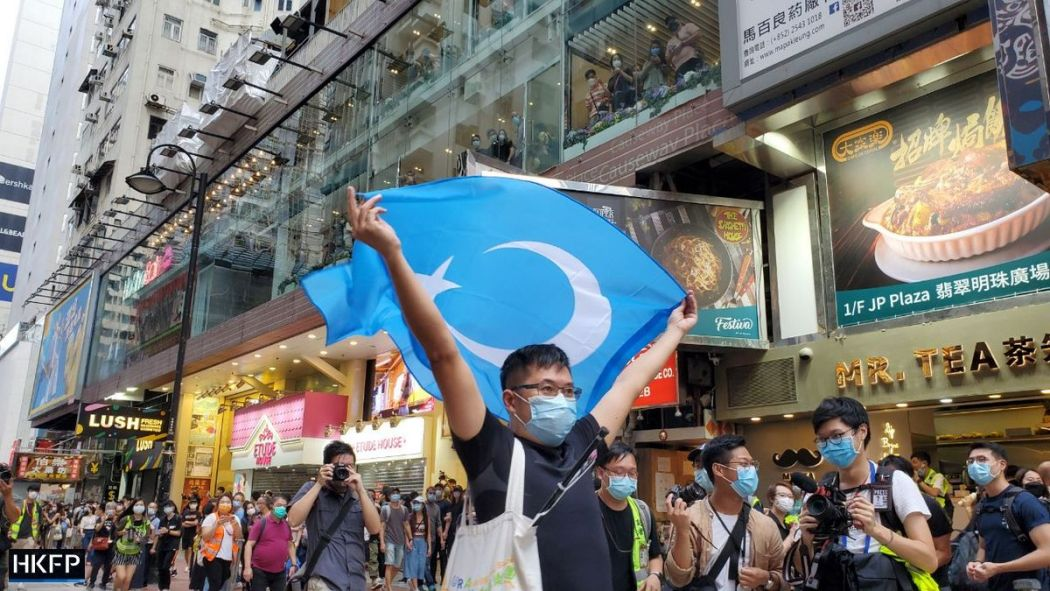 xinjiang  October 1 Causeway Bay Uighur East Turkestan flag
